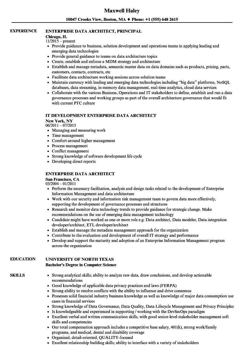 Enterprise Data Architect Resume Samples | Velvet Jobs