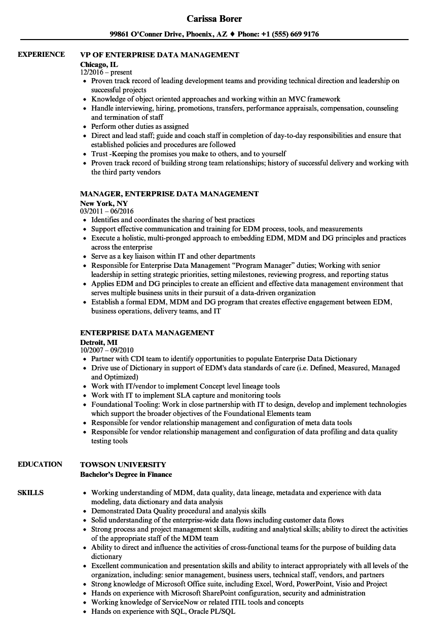 Enterprise Data Management Resume Samples | Velvet Jobs