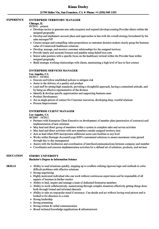 enterprise manager resume samples