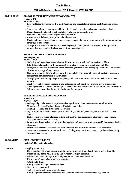 enterprise marketing manager resume samples velvet jobs