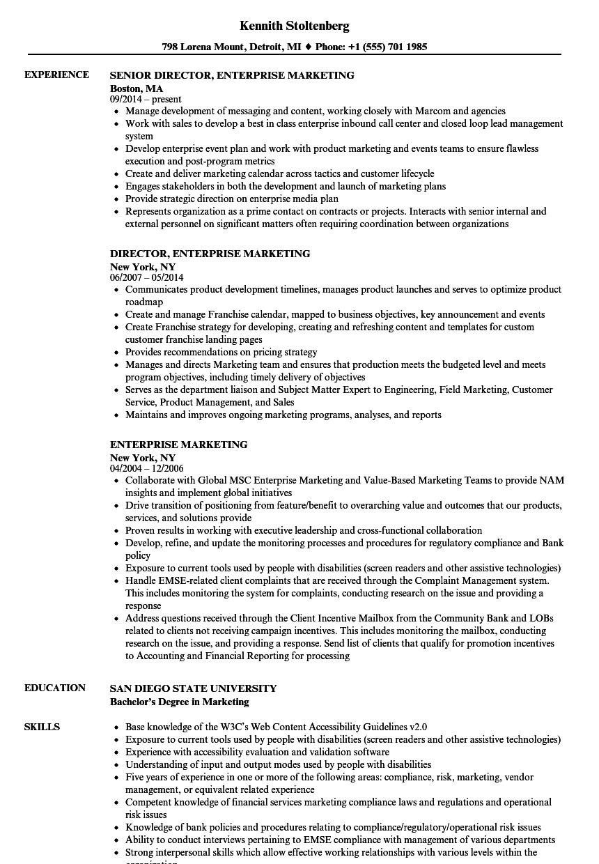 Enterprise Marketing Resume Samples | Velvet Jobs