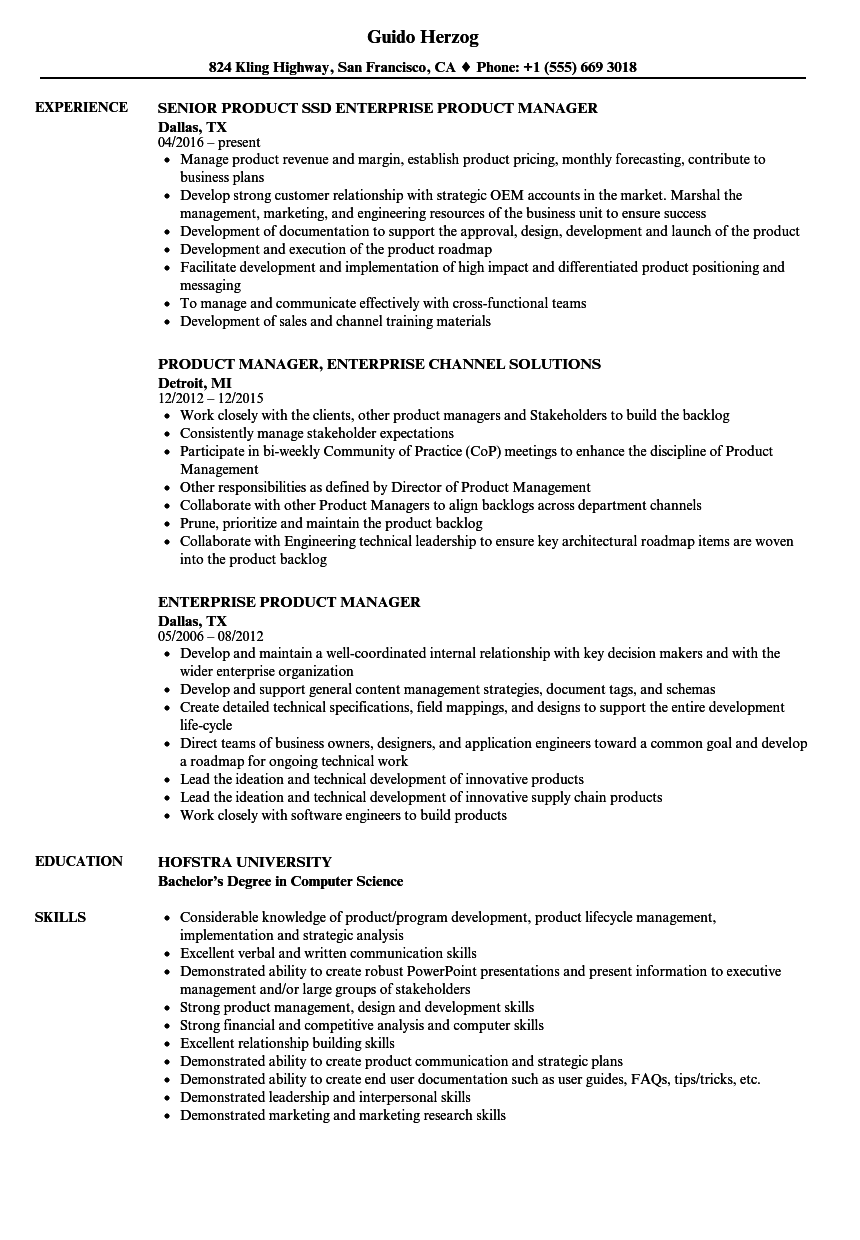 Enterprise Product Manager Resume Samples Velvet Jobs