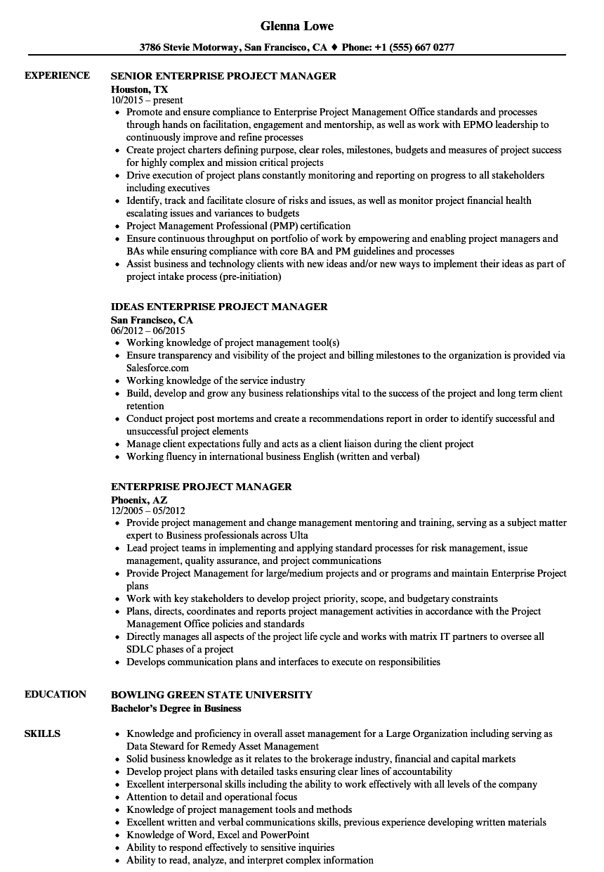 enterprise project manager resume samples