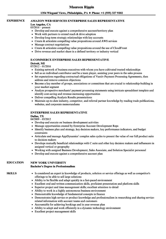 Enterprise Sales Representative Resume Samples | Velvet Jobs