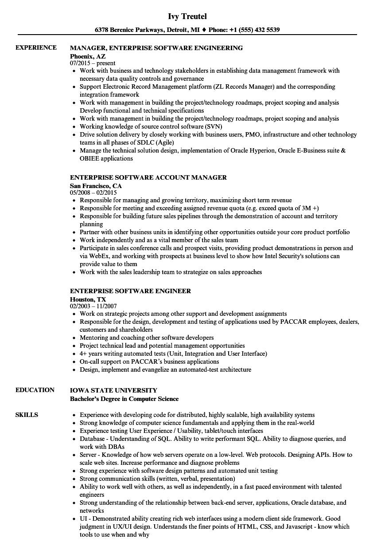 enterprise software resume samples
