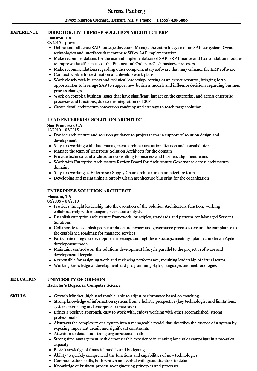 Enterprise Solution Architect Resume Samples | Velvet Jobs