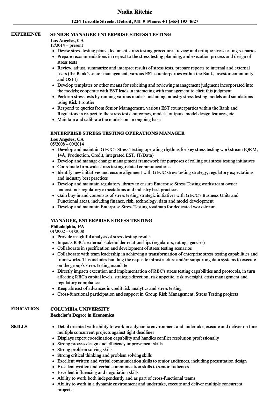 enterprise stress testing resume samples