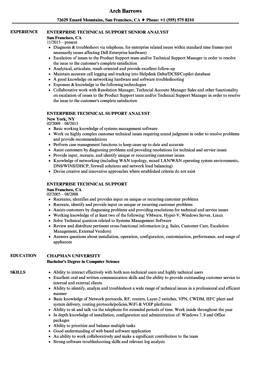Enterprise Technical Support Resume Samples | Velvet Jobs
