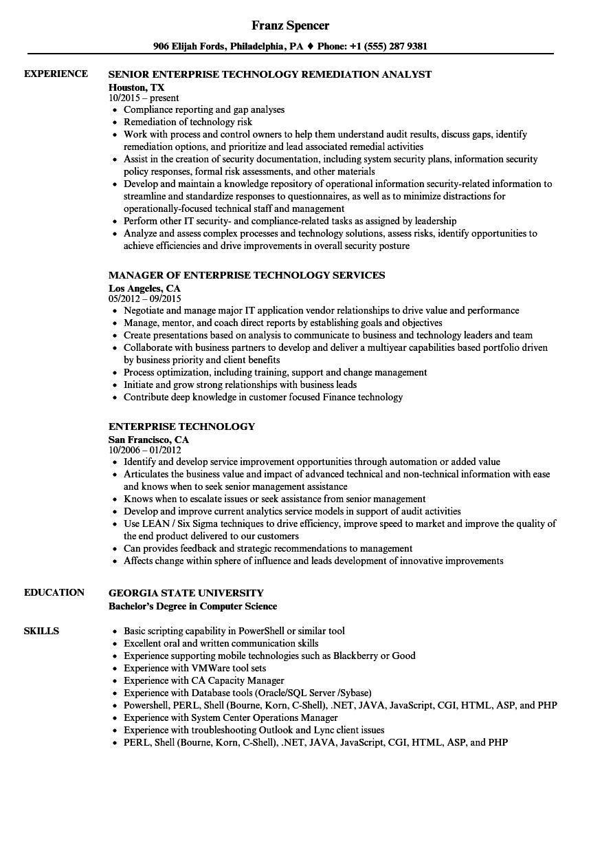 enterprise technology resume samples