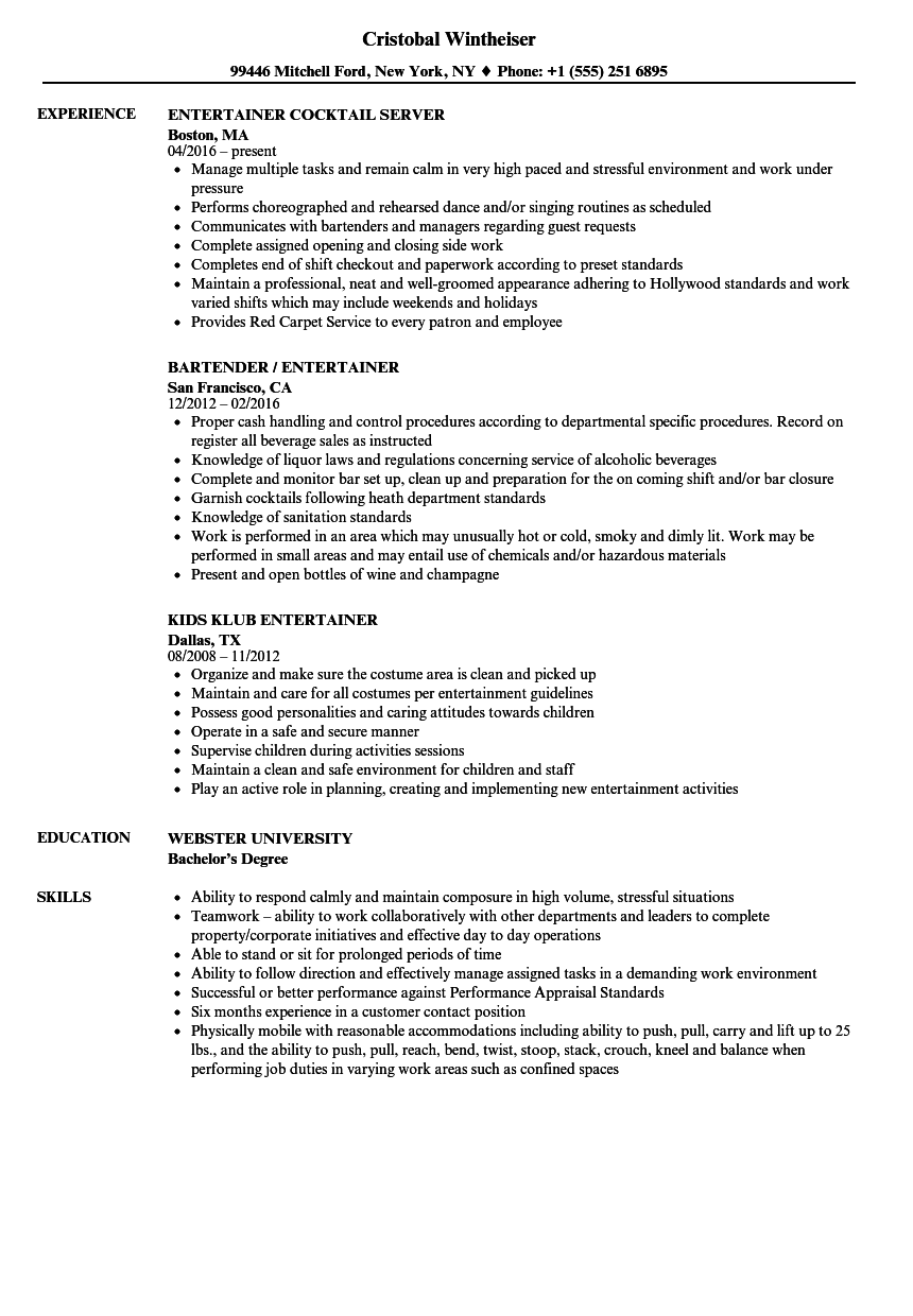 Entertainer Resume Samples