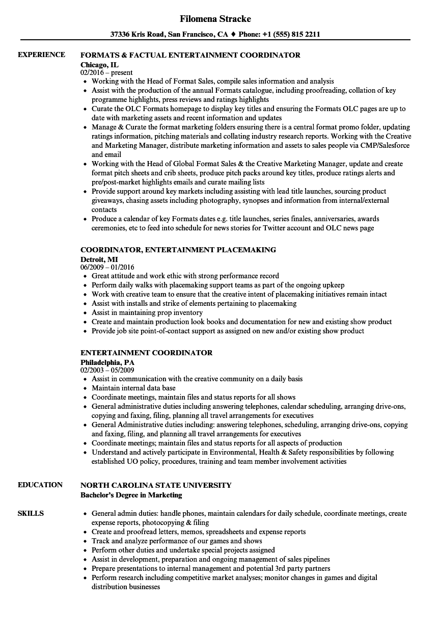 Entertainment Coordinator Resume Samples
