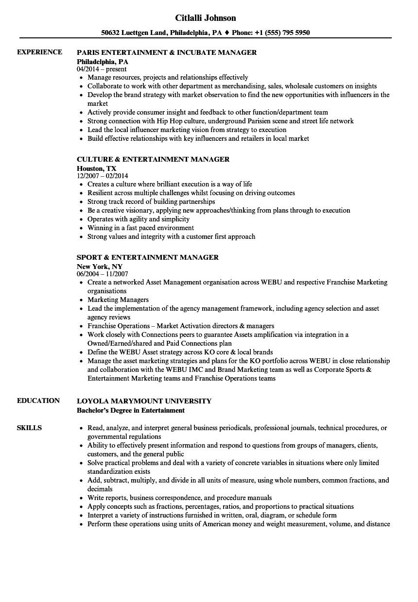 Download Entertainment Manager Resume Sample As Image File
