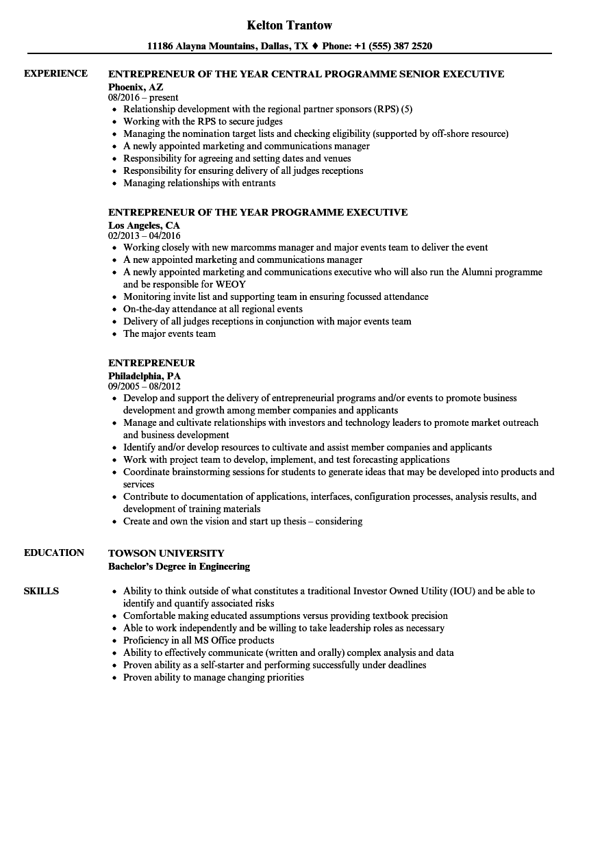 entrepreneur resume samples velvet jobs