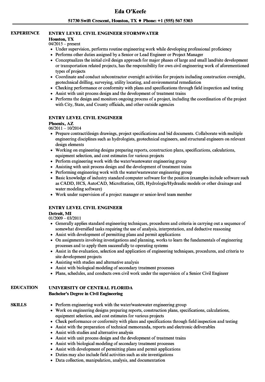 Entry Level Civil Engineer Resume Samples | Velvet Jobs