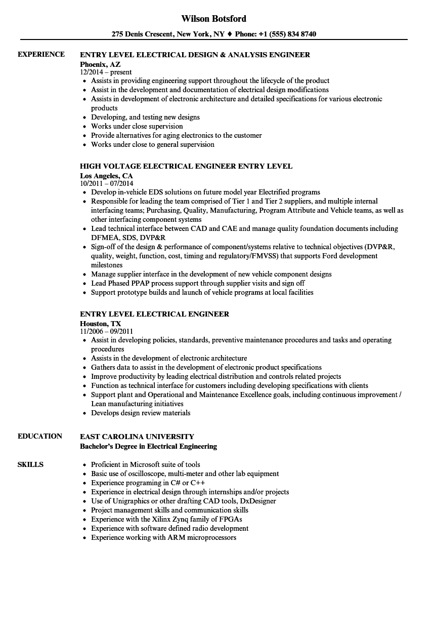 Entry Level Electrical Engineer Resume Samples | Velvet Jobs