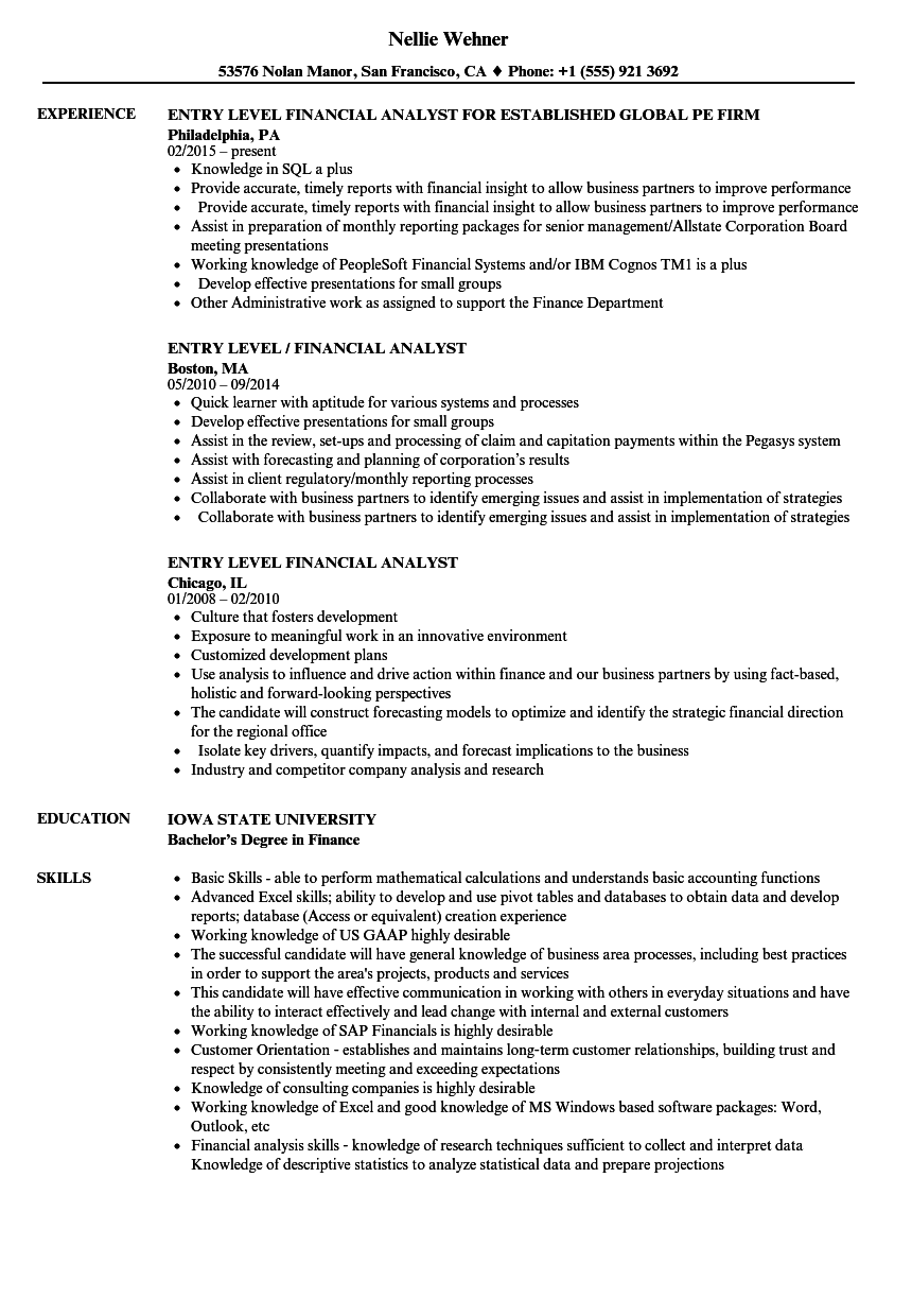 Entry Level Financial Analyst Resume Samples | Velvet Jobs