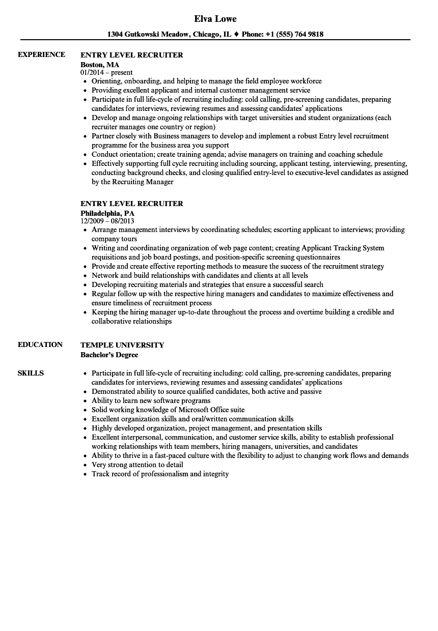Entry Level Recruiter Resume Samples Velvet Jobs
