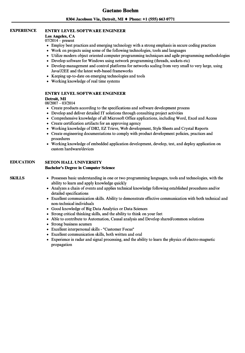 Entry Level Software Engineer Resume Samples Velvet Jobs