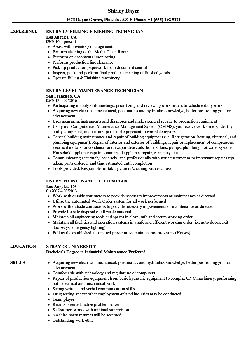 entry technician resume samples