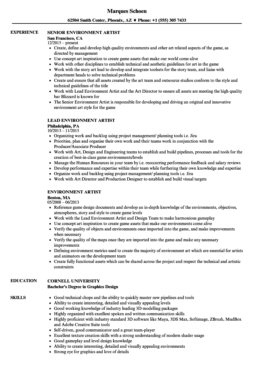download environment artist resume sample as image file