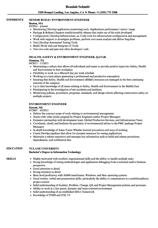 sample resume for environmental engineer