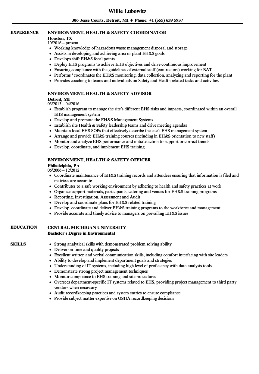 environment  health  u0026 safety resume samples