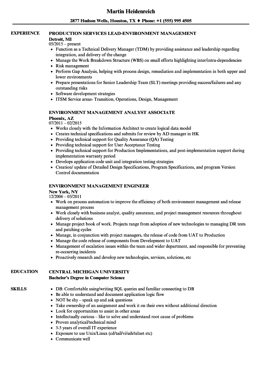 Environment Management Resume Samples Velvet Jobs