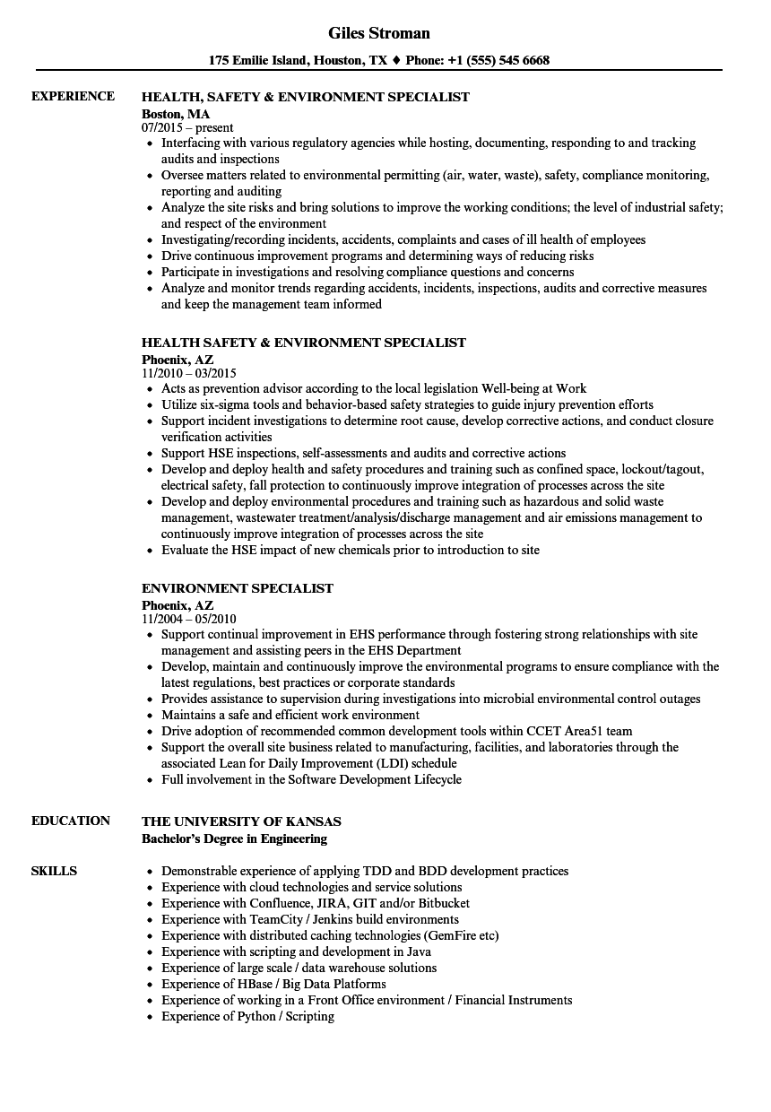 environment specialist resume samples