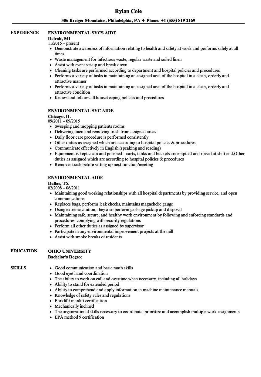 environmental aide resume samples