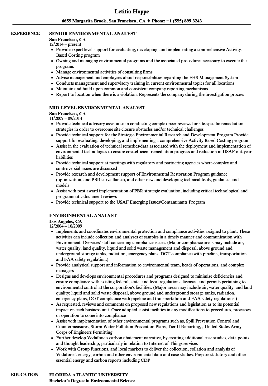 environmental analyst resume samples