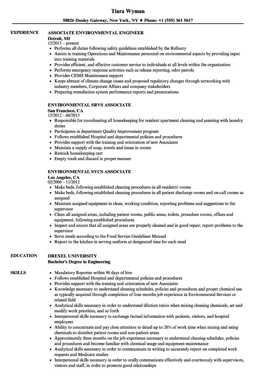 Environmental Associate Resume Samples | Velvet Jobs