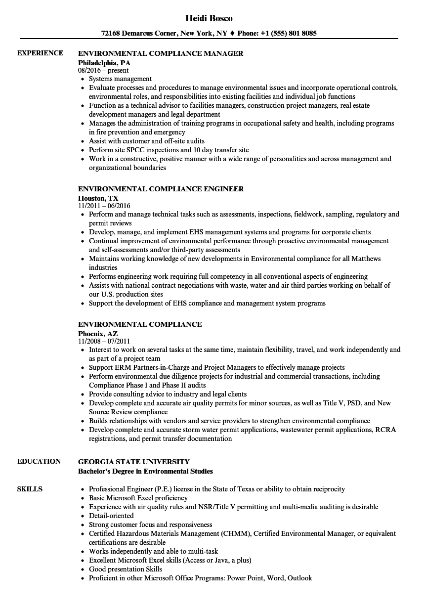 environmental compliance resume samples