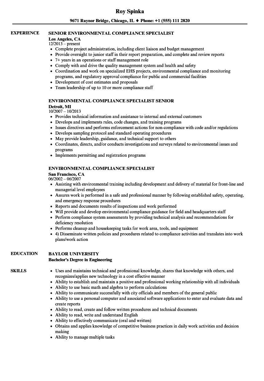 environmental compliance specialist resume samples