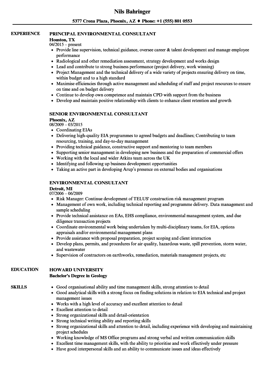 Environmental Consultant Resume Samples | Velvet Jobs