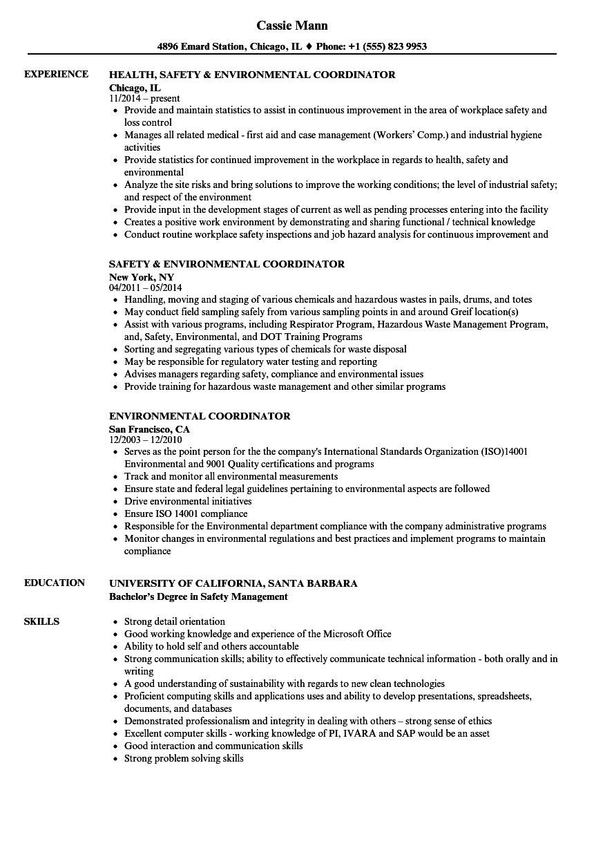Environmental Coordinator Resume Samples Velvet Jobs