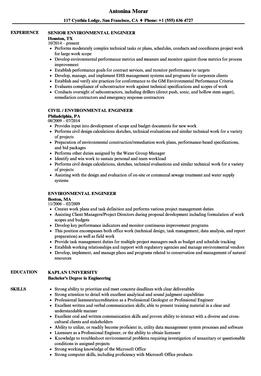 Environmental Engineer Resume Samples | Velvet Jobs