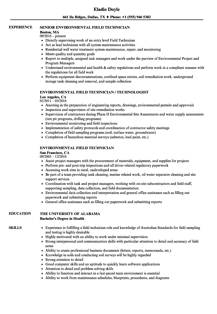 download environmental field technician resume sample as image file - Wastewater Technician Resume Sample