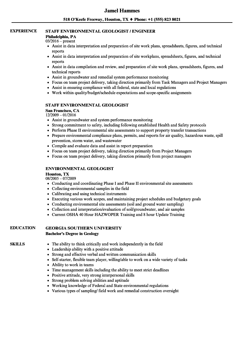 Download Environmental Geologist Resume Sample As Image File