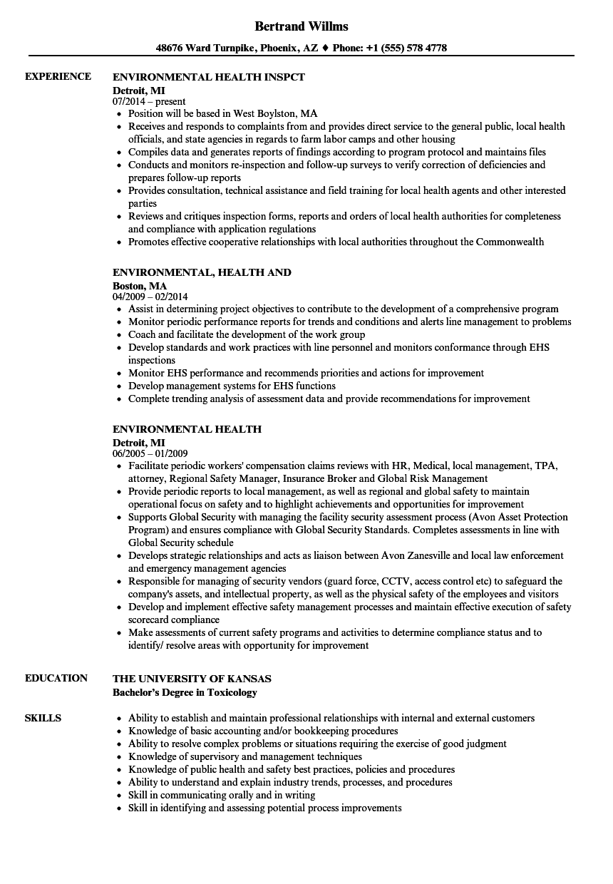 Environmental Health Resume Samples | Velvet Jobs