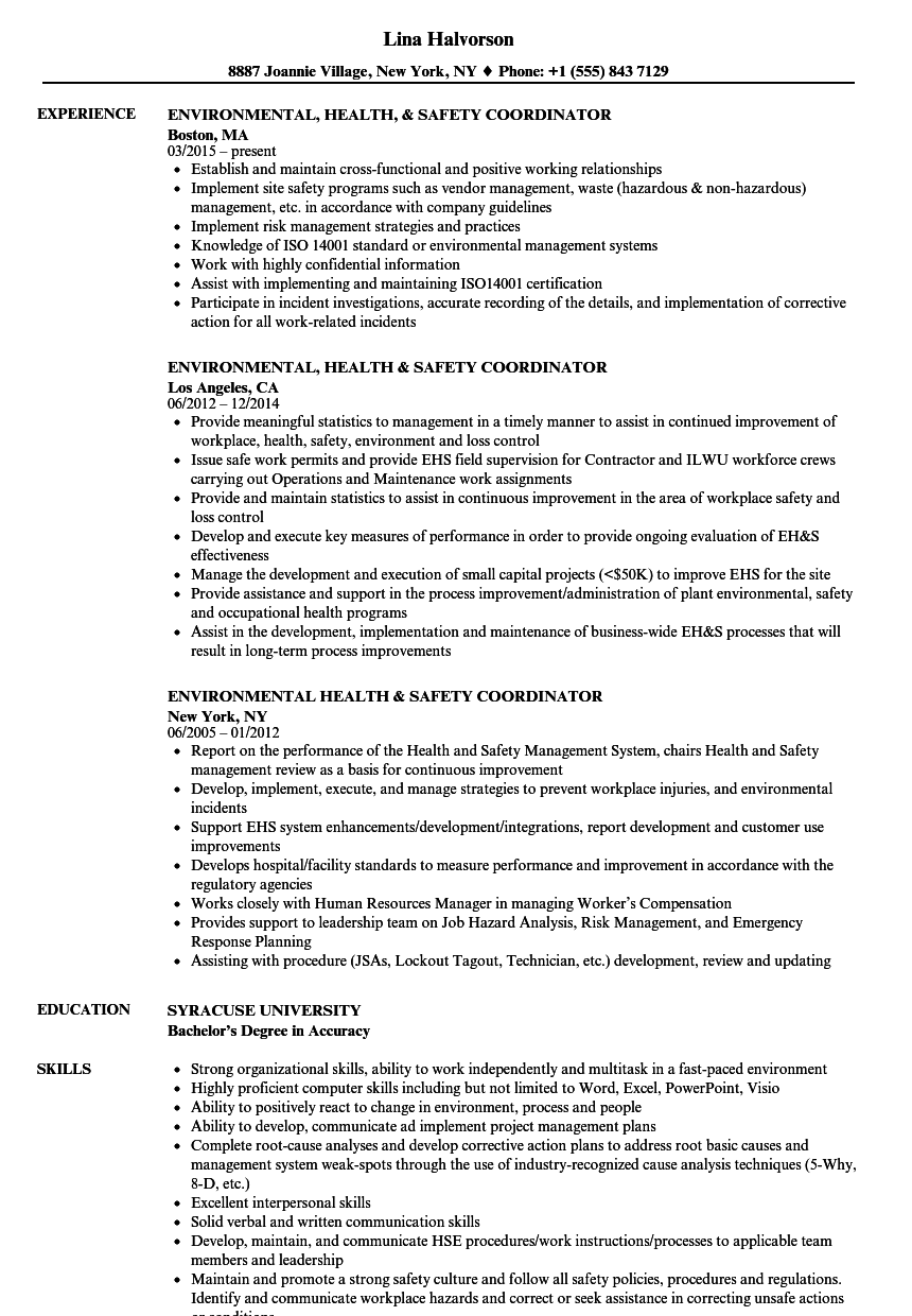 environmental health safety coordinator resume samples velvet jobs