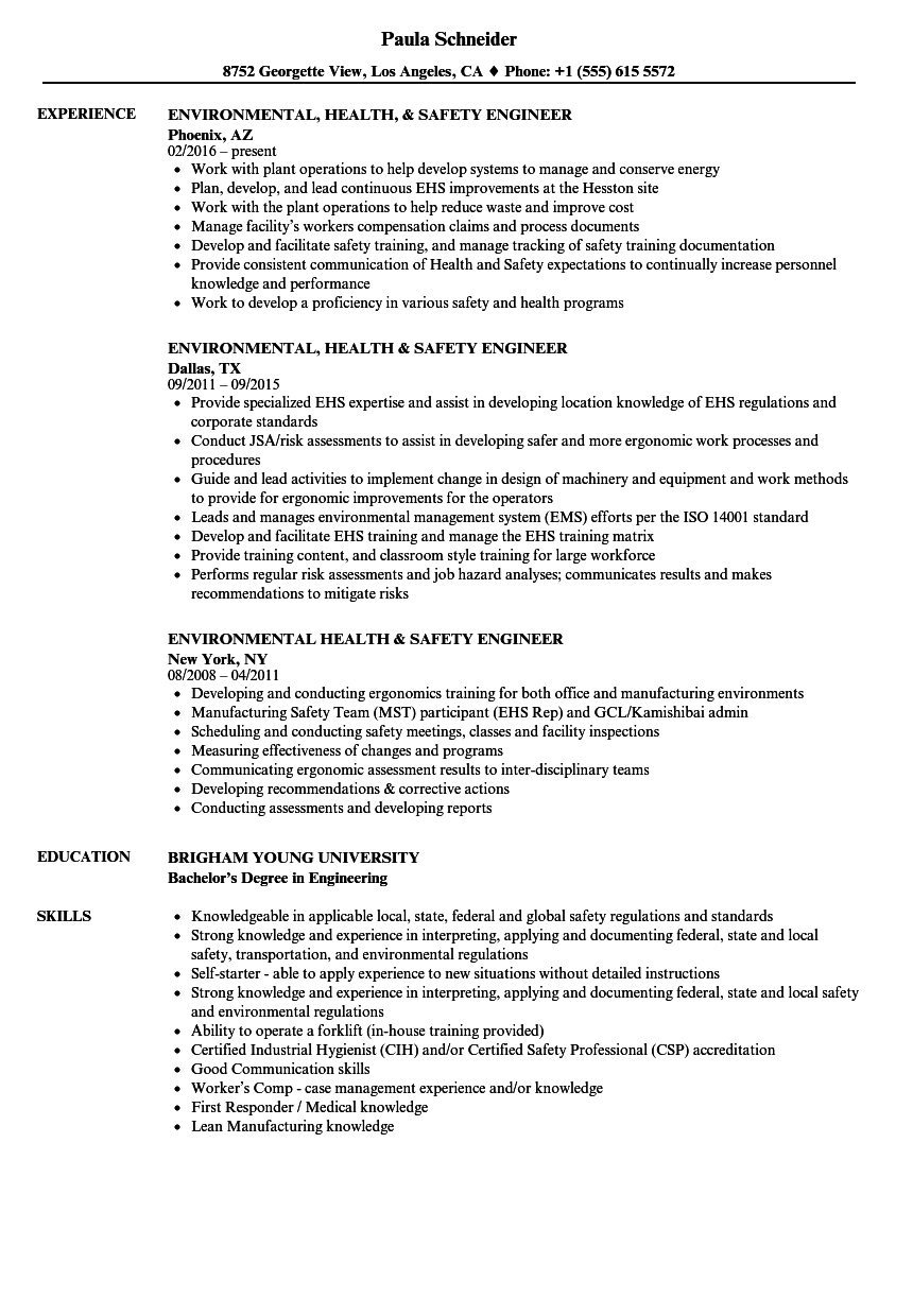 environmental health  u0026 safety engineer resume samples