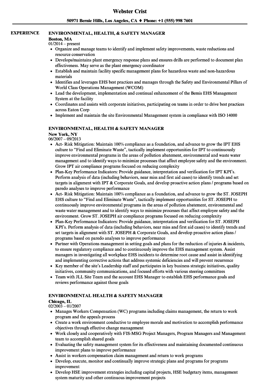 environmental health  u0026 safety manager resume samples