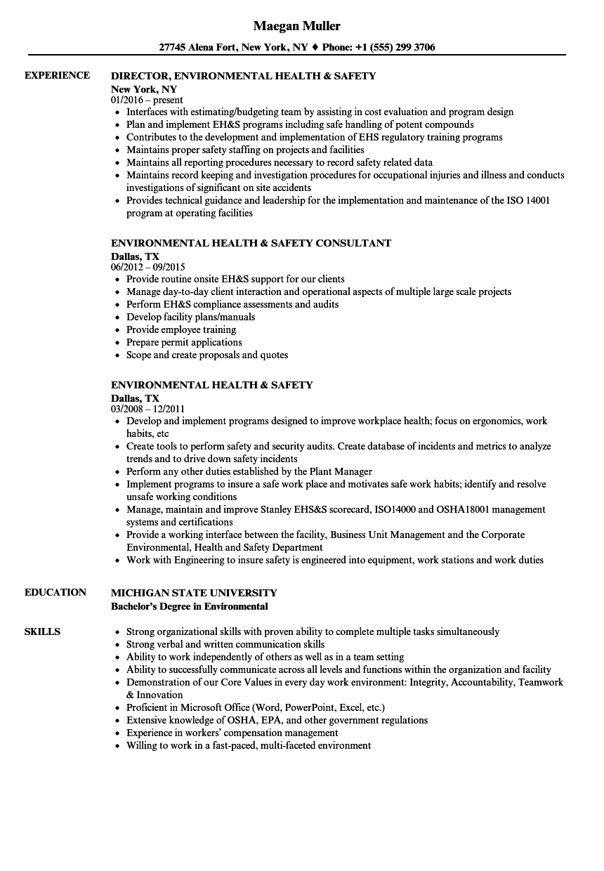 environmental health  u0026 safety resume samples