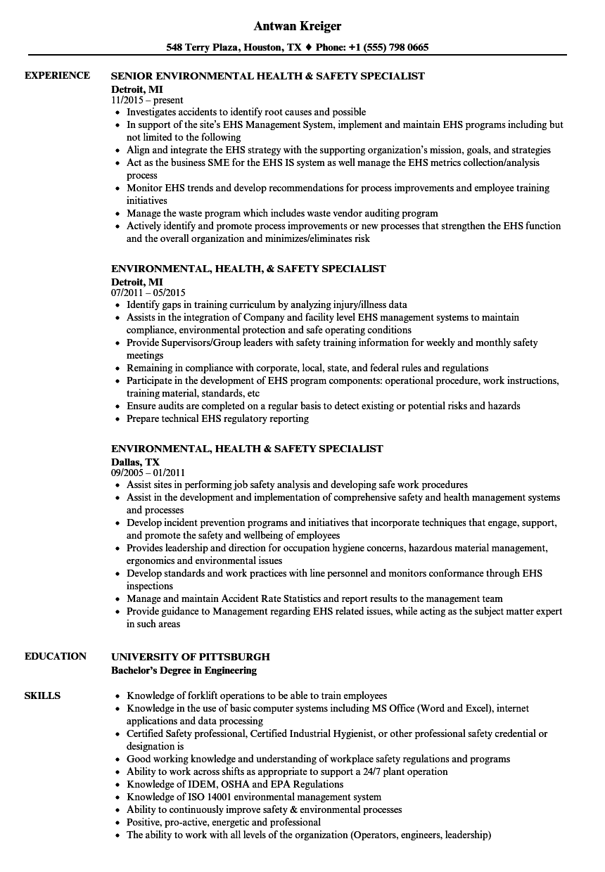 environmental health safety specialist resume samples velvet jobs