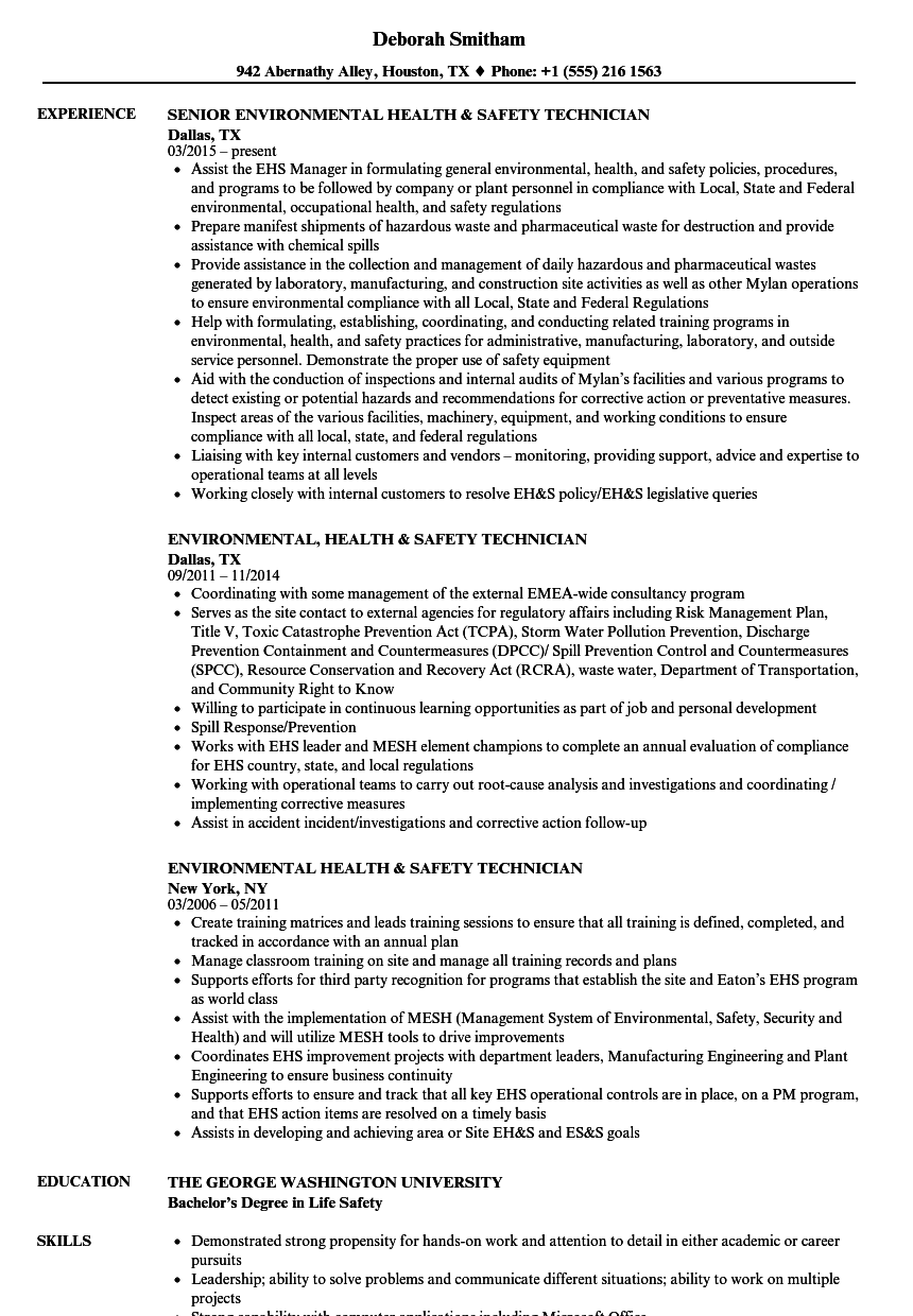 environmental health safety technician resume samples velvet jobs