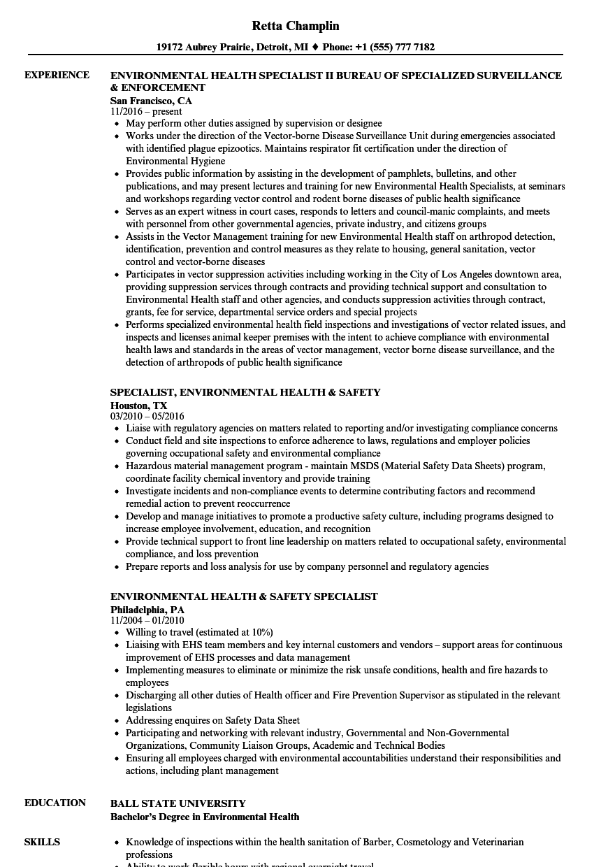 environmental health specialist resume samples