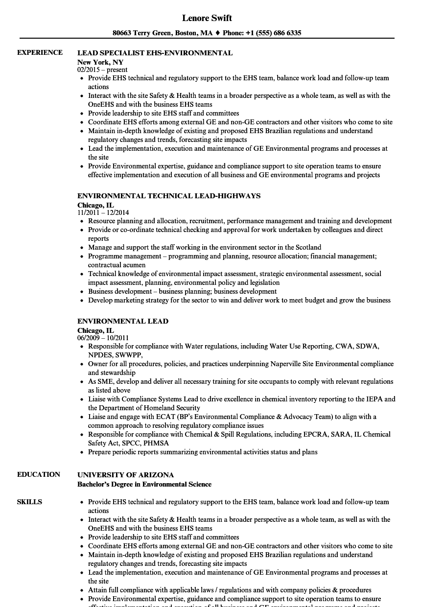 download environmental lead resume sample as image file - Resume Environmental Science