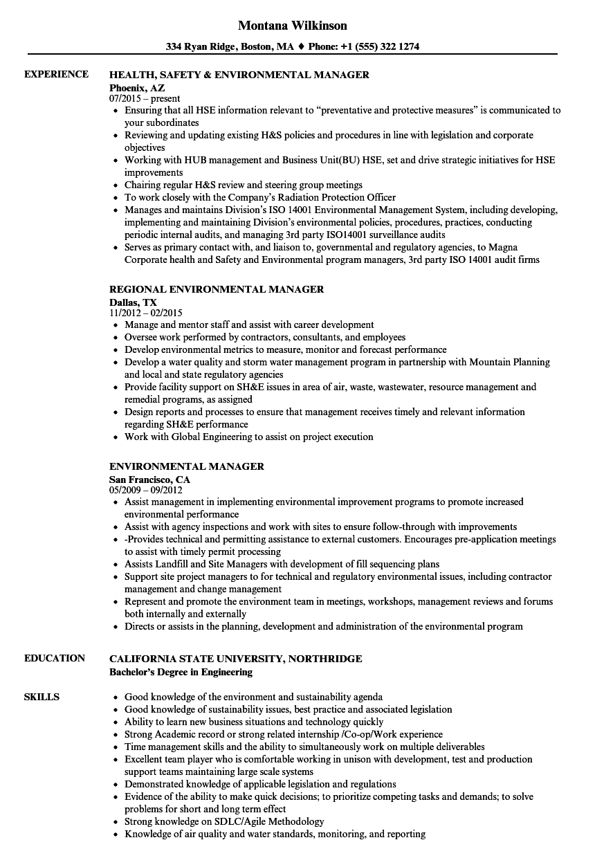 environmental manager resume samples