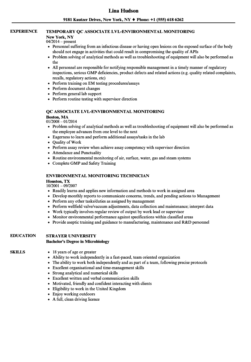 Environmental Monitoring Resume Samples Velvet Jobs