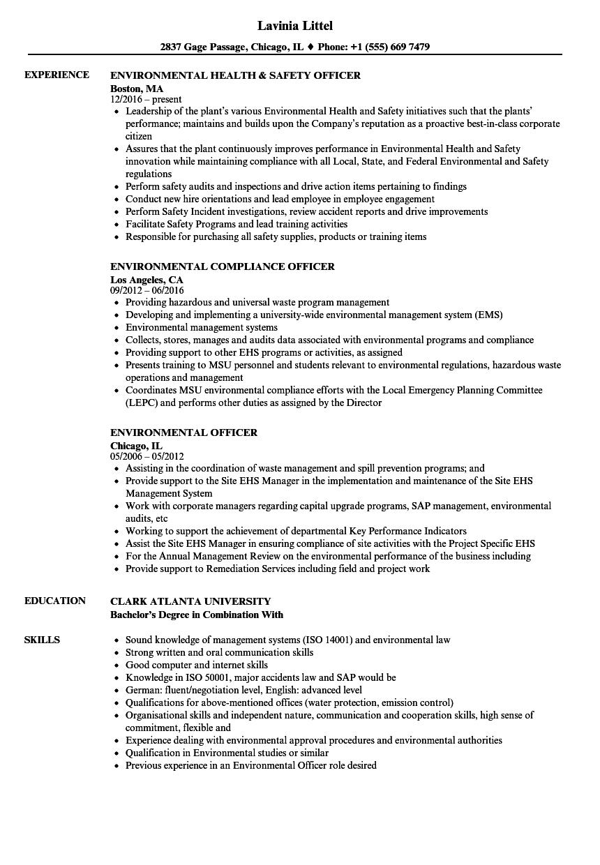 Download Environmental Officer Resume Sample As Image File  Safety Officer Resume